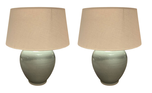 Contemporary Chinese Pair Round Pale Blue Lamps