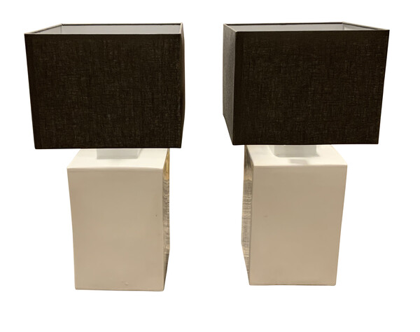 Contemporary Chinese Pair Square Cannister Lamps