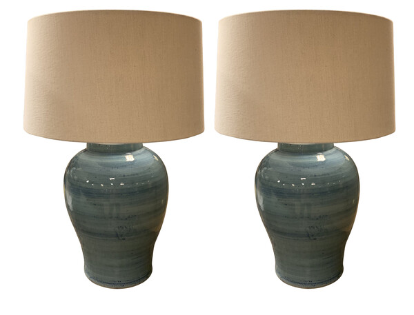 Contemporary Chinese Pair Striated Blue Lamps