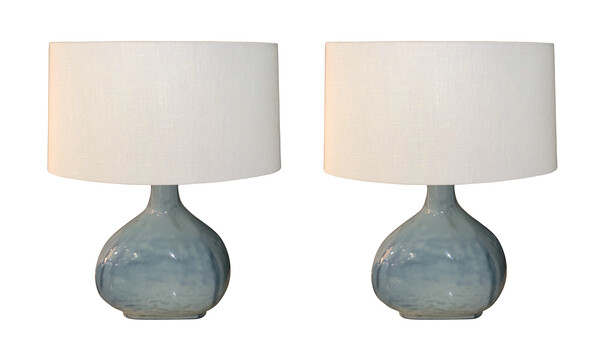 Contemporary Chinese Pair Thick Blue Glass Lamps