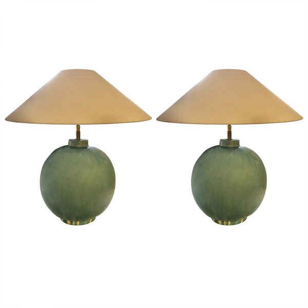 Contemporary Chinese Pair Washed Turquoise Lamps