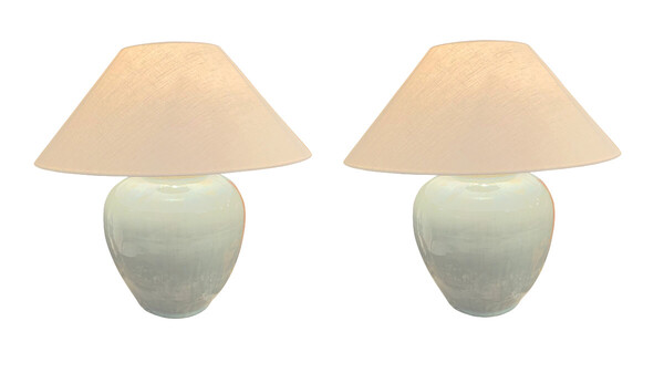 Contemporary Chinese Pair Washed Turquoise Ginger Jar Lamps