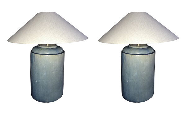 Contemporary Chinese Pair Washed Turquoise Jar Lamps