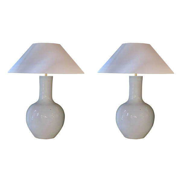 Contemporary Chinese Pair White  Ceramic Lamps