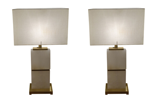 Contemporary Dutch Pair Alabaster Lamps