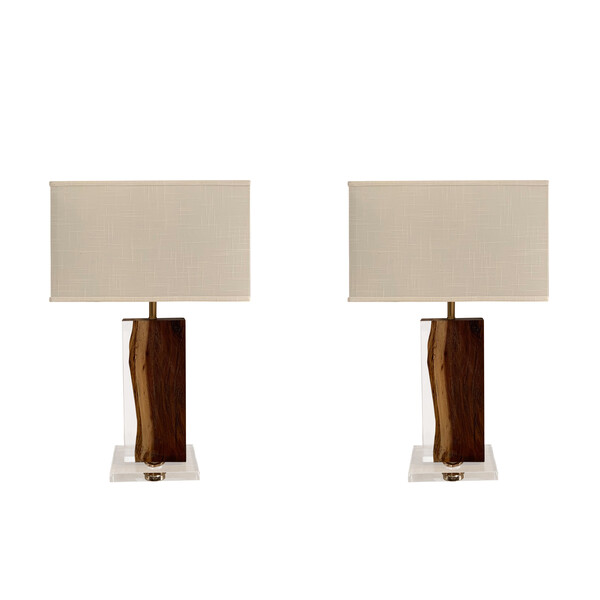 Contemporary Indonesian Pair Palissandre Lamps