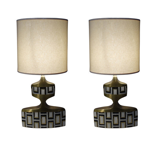 Contemporary French Pair Shagreen / Brass and Shell Lamps