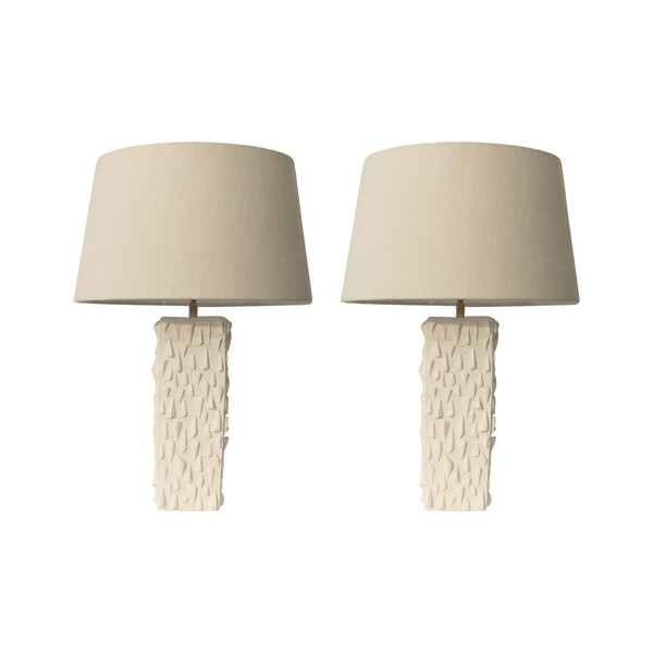 Contemporary French Pair Textured Plaster Lamps