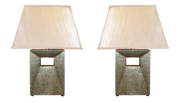 Contemporary Italian Pair Black/Gold Cut Out Base Lamps