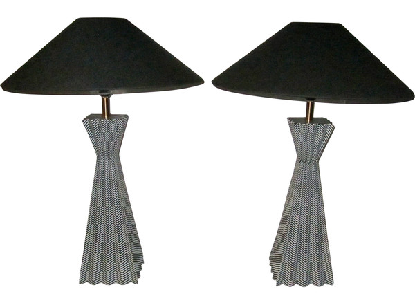 Contemporary Pair Black and White Zig Zag Lamps