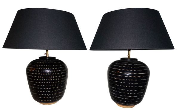 Contemporary Chinese Pair Cream Dotted Black Lamps