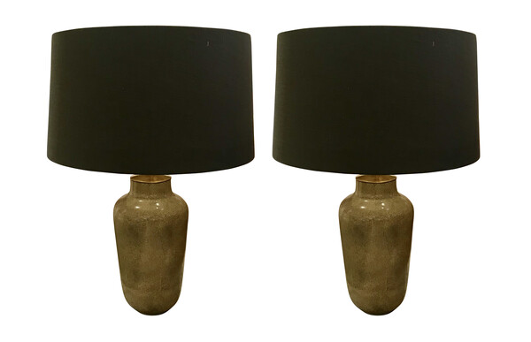 Contemporary Pair Gold Faux Shagreen Lamps