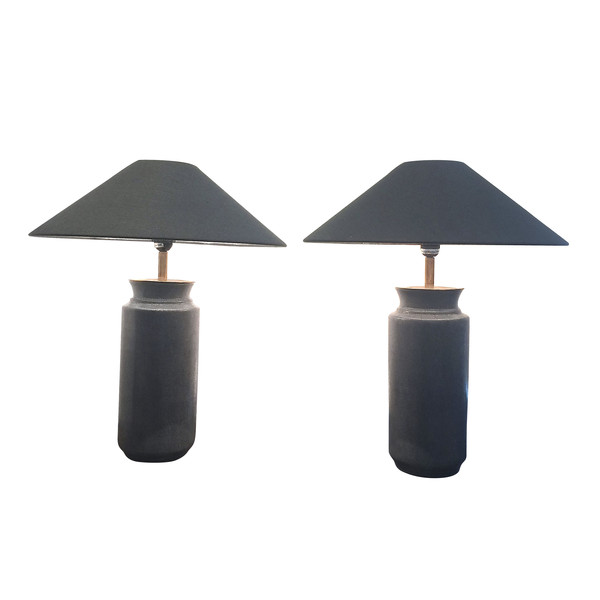 Contemporary Pair Grey Faux Shagreen Cylinder Lamps