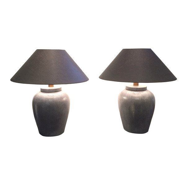 Contemporary Pair Grey Faux Shagreen Lamps