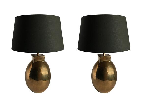 Contemporary Pair Metallic Faux Shagreen Lamps