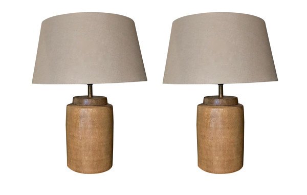 Contemporary Pair Textured Pharmacy Jar Lamps