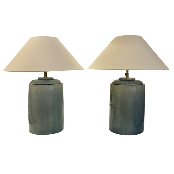 Contemporary Pair Washed Turquoise Lamps