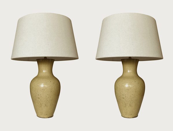 Contemporary Chinese  Pair Yellow Classic Shaped Lamps