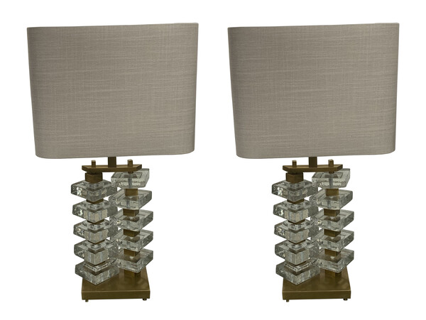 Contemporary Romania Pair Textured Glass Lamps