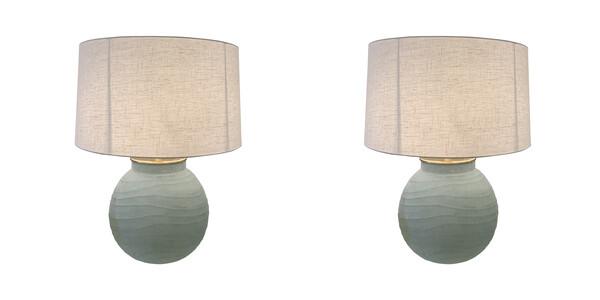 Contemporary Romanian Pair Horizontal Rib Glass Lamps