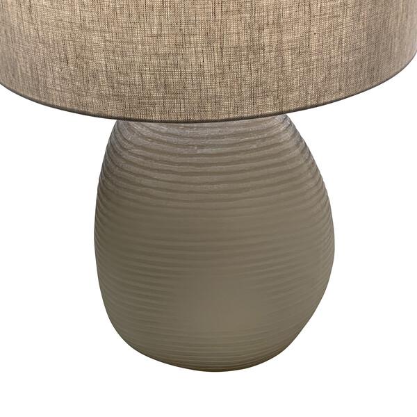 Contemporary Romanian Pair Tan Textured Glass Lamps