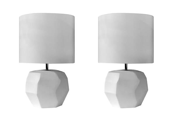 Contemporary Romanian White Pair Cubist Lamps