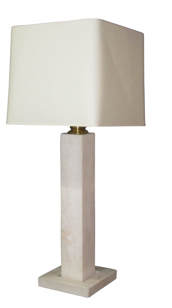 Mid Century Belgian Large White Marble Single Lamp