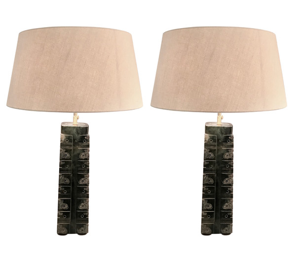 1920's Chinese Pair Stone Lamps