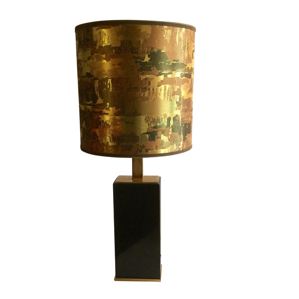 1970's French Black Marble Lamp