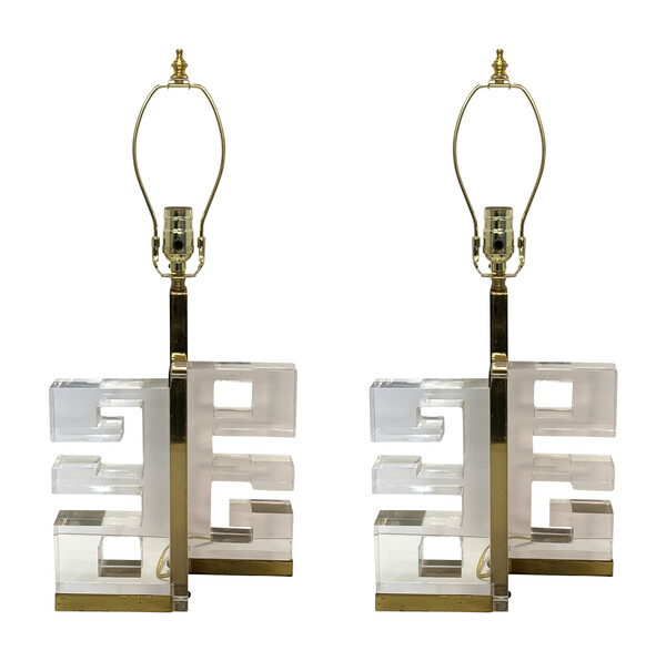 1950's Italian Pair Lucite Greek Key Lamps