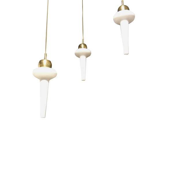 1960s' Italian Set of Three Opaline Pendant Lights