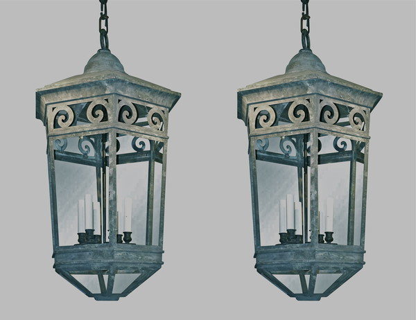 19thc English Pair Large Copper Lanterns