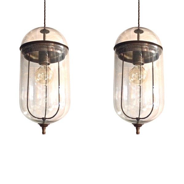 Contemporary Italian Pair Elongated Glass Pendant Lights
