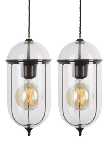 Contemporary Italian Pair Elongated Glass Pendant Lights