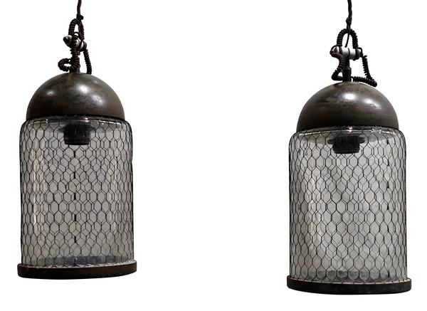 Contemporary Italian Pair Elongated Mesh Covered Pendant Lights