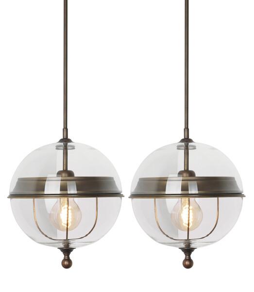 Contemporary Italian Pair Glass Globe Pendant Lights
