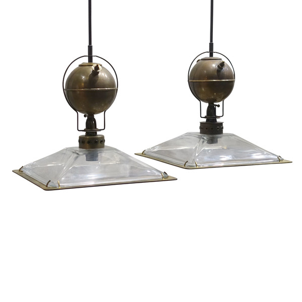 Contemporary Italian Pair Glass Shade Pendant Lights