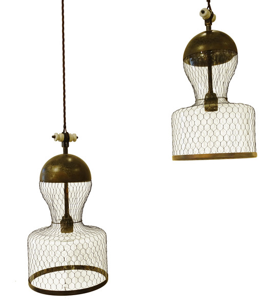 Contemporary Italian Pair Mesh Covered Pendant Lights