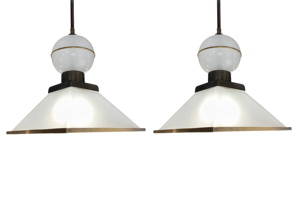 Contemporary Italian Pair Frosted Glass Pendants