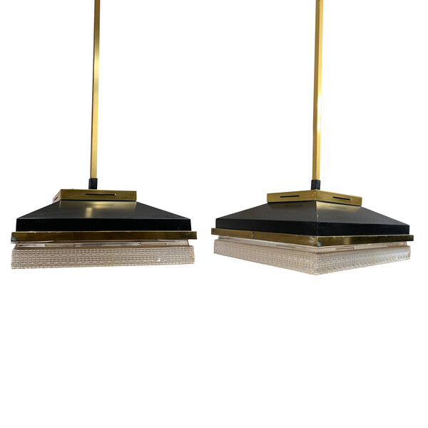 Mid Century French Pair Black and Brass Square Pendants