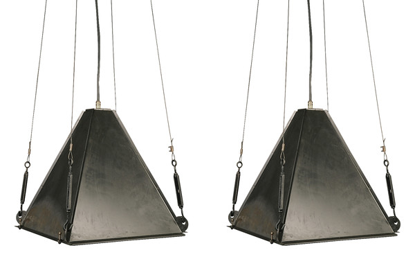 Mid Century Italian Industrial Pair Pyramid Pendant Lights