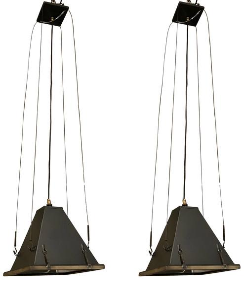 Mid Century Italian Pair Industrial Pyramid Pendants