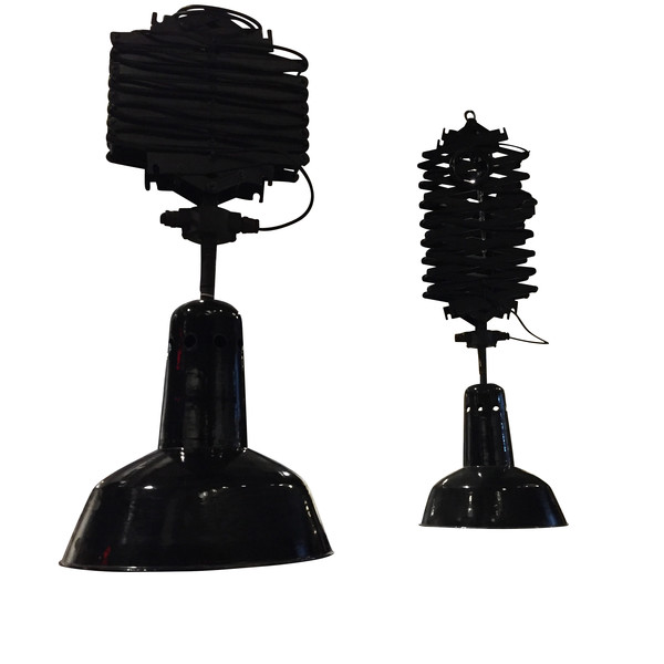 1940's Belgian Pair Extending Industrial Lights