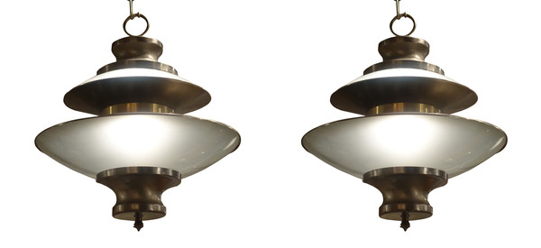 1970's French Pair Opaque Glass / Brushed Brass Pendants