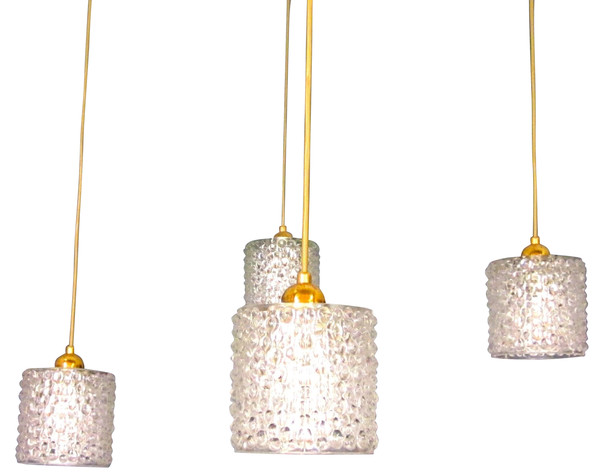 1960's Italian Set of Four Crystal Pendant Lights