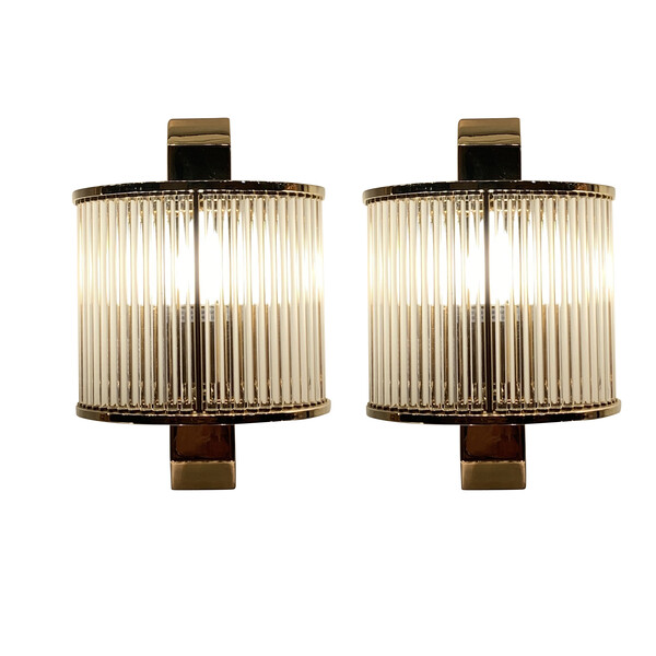 Contemporary Pair Crystal Rod Sconces