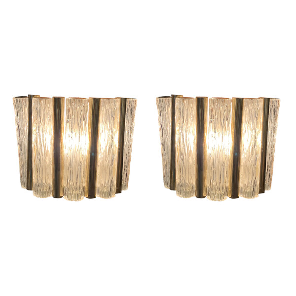 Mid Century France Pair Textured Glass Sconces