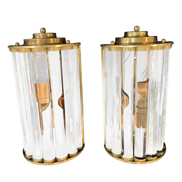 Mid Century Italian Pair Glass Rod Sconces