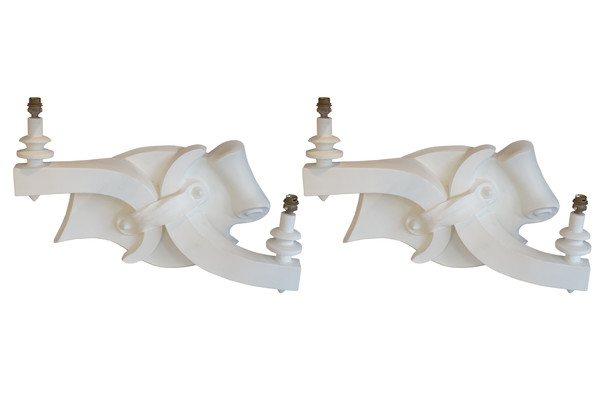 1940's French Pair White Plaster Sconces