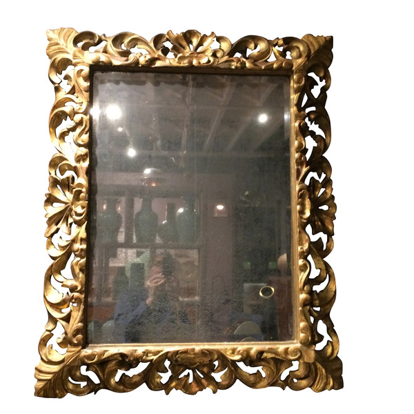 1830c French Carved Gold Gilt Wood Frame Mirror